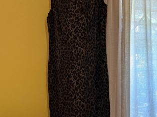 Ann Taylor Forest Green Animal Print Dress 8P