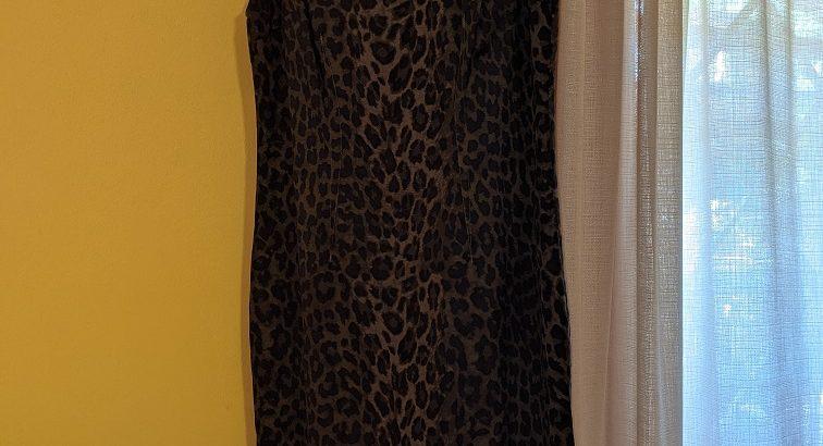 Ann Taylor Forest Green Animal Print Dress 8P