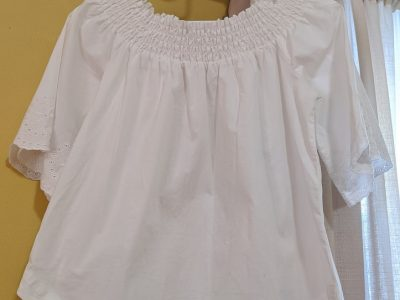 New York & Company Off The Shoulder White Blouse: Size M