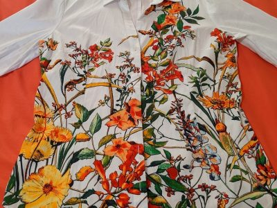 New York & Company Floral Front Shirt L